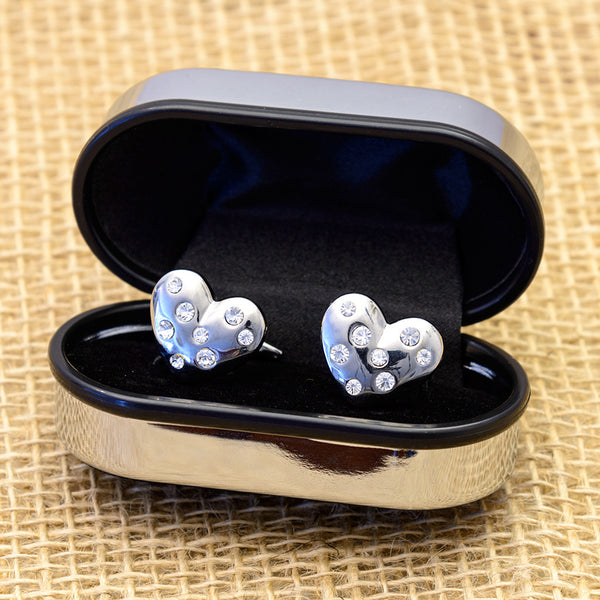 Heart Shaped Diamanté Cuff-Links