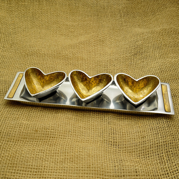 Gold Trio of Heart Dishes