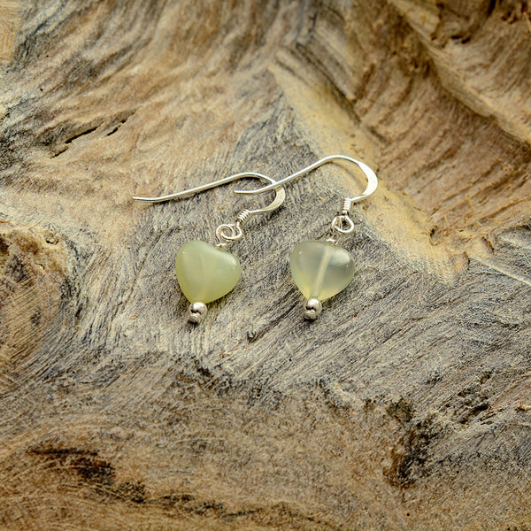 Pale Green Stone Heart Earrings