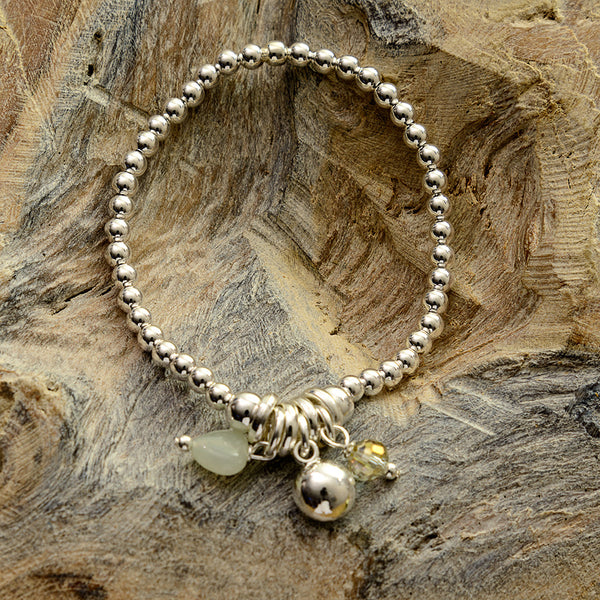 Pale Green Stone Heart Stretch Bracelet