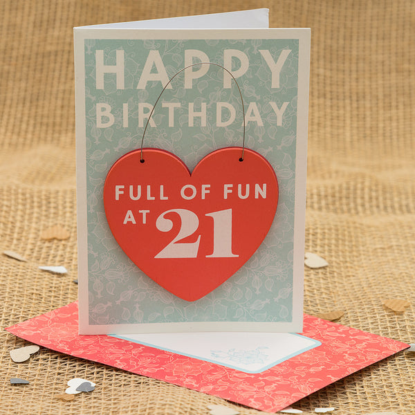 Happy 21st Birthday Hanging Heart Card