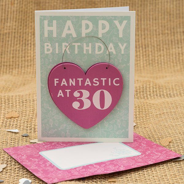 Happy 30th Birthday Hanging Heart Card