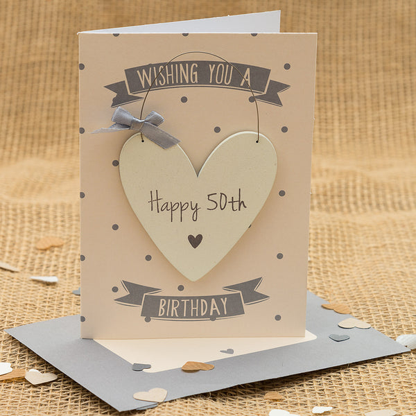 Happy 50th Birthday Hanging Heart Card