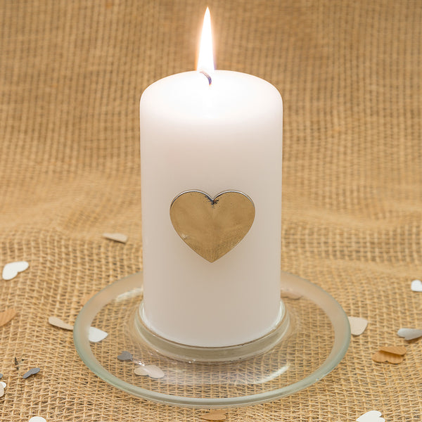 Silver Heart Pillar Candle Pin