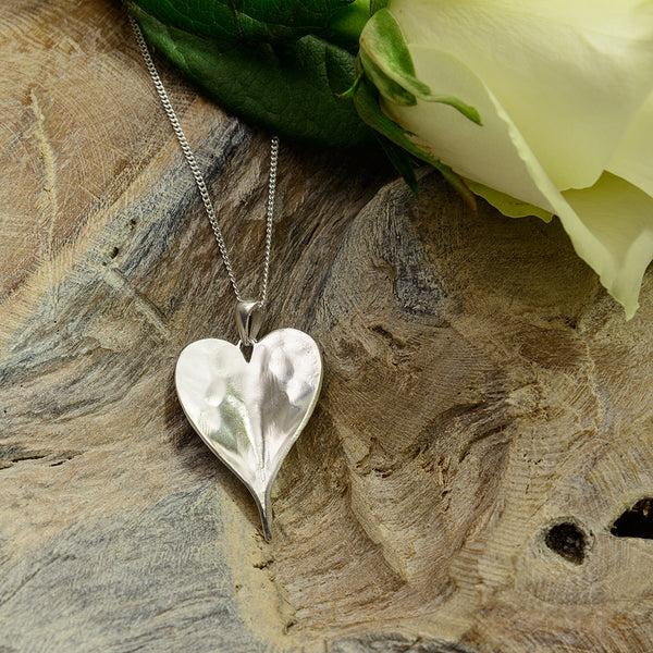 Sterling Silver Heart Shaped Leaf Necklace