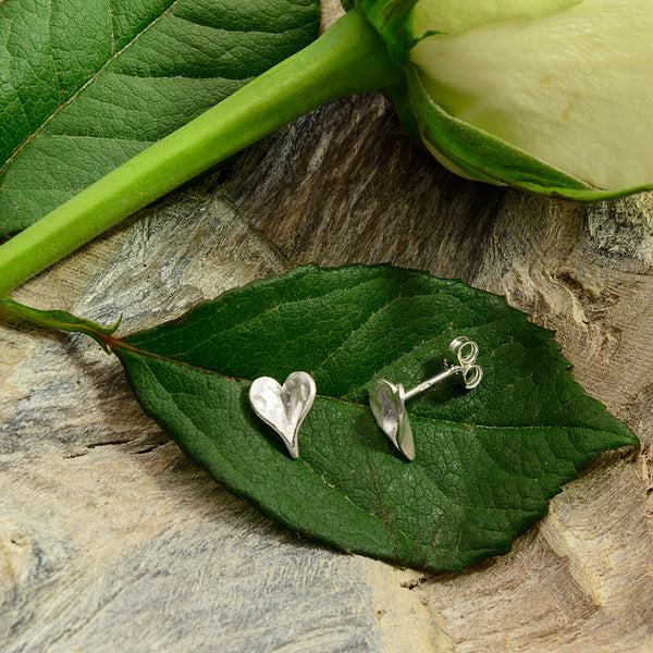 Sterling Silver Heart Shaped Leaf Stud Earrings
