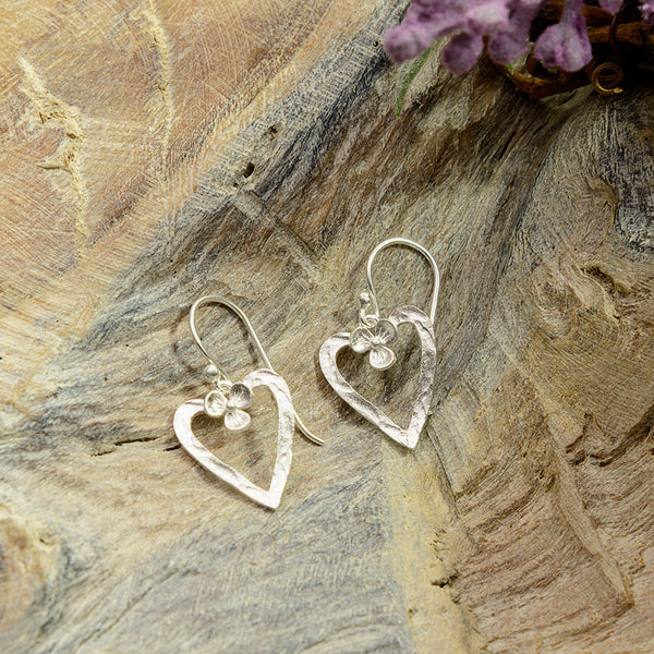 Sterling Silver Heart with Flower Earrings