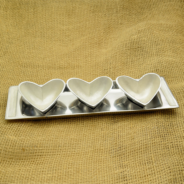 Ivory Trio of Heart Dishes