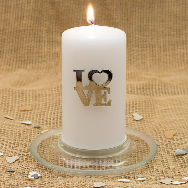 Silver LOVE Heart Pillar Candle Pin