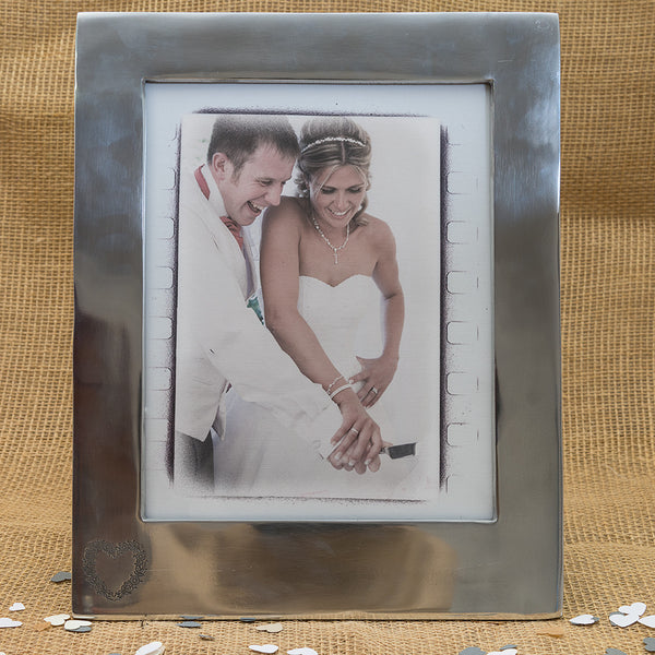 Large Silver '10 x 8' Frame with Flower Heart