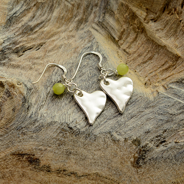 Lime Green Silver Heart Earrings