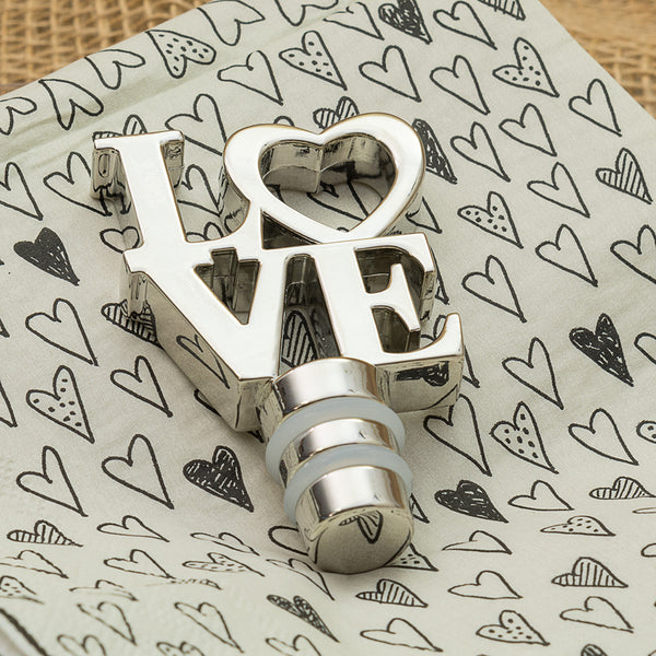 Silver LOVE Heart Bottle Stoppers