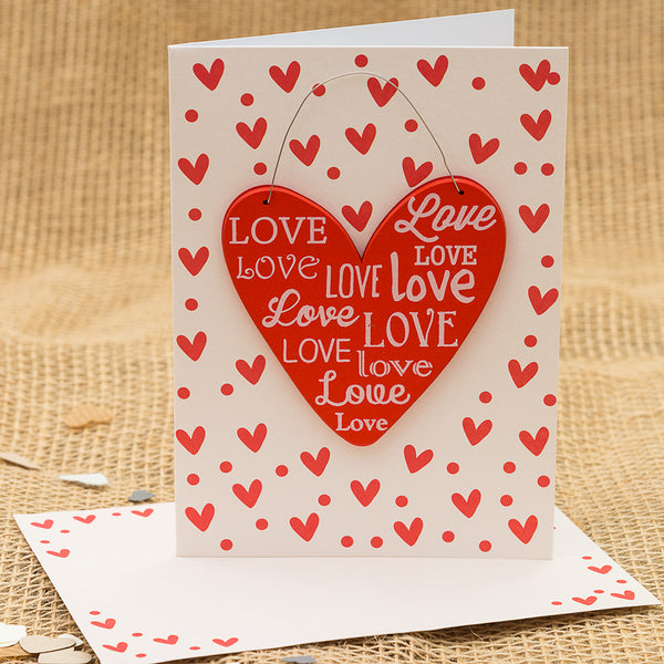 Love Heart Hanging Heart Card