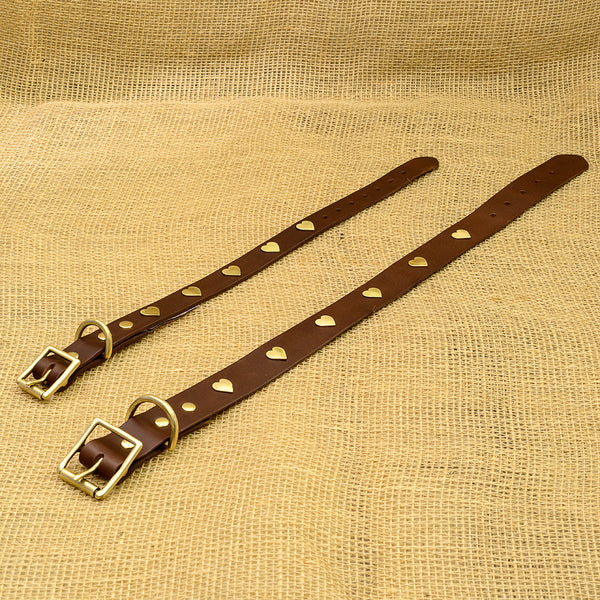 Luxurious Brown Leather Dog Collar with Brass Hearts