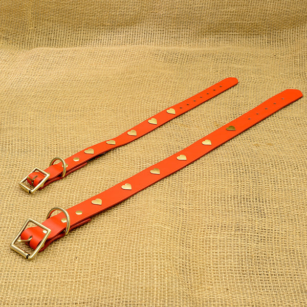 Luxurious Red Leather Dog Collar With Brass Hearts
