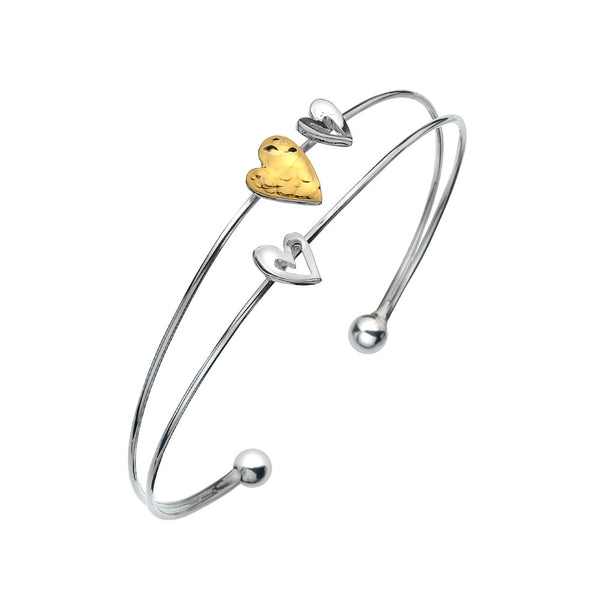 Sterling Silver bracelet with gold heart