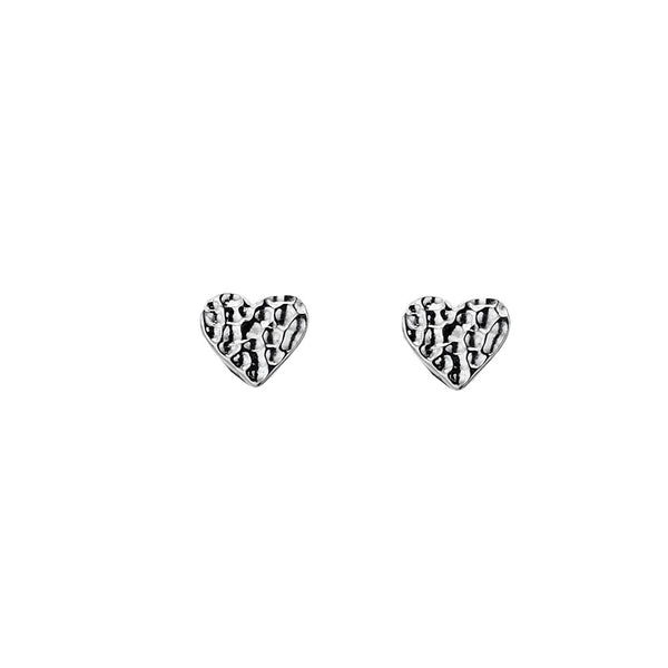 Stirling Silver Hammered Heart Stud Earrings