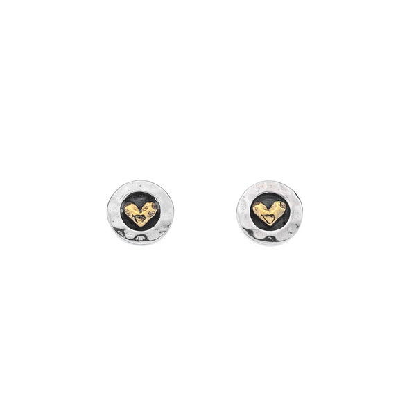 Round Oxidised Sterling Silver Stud Earrings with Gold Brass Heart