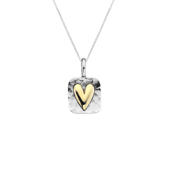 Rectangle Hammered Silver with Gold Heart Necklace