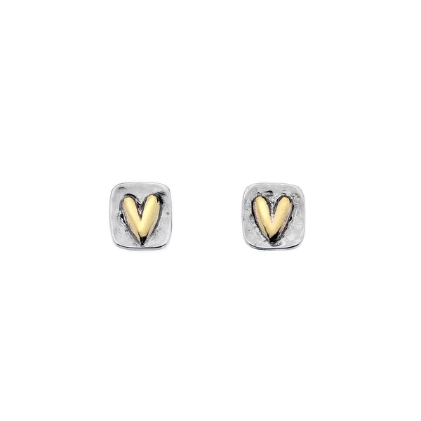 Rectangle Hammered Silver and Gold Brass Heart Stud Earrings
