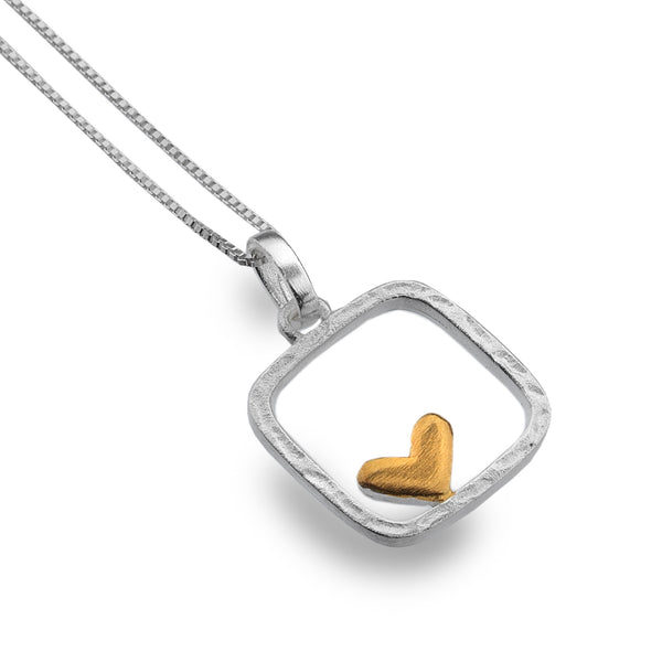 Silver Square with Offset Gold Heart Necklace