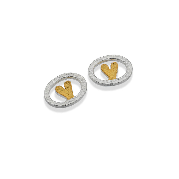 Silver Oval with Gold Heart Stud Earrings
