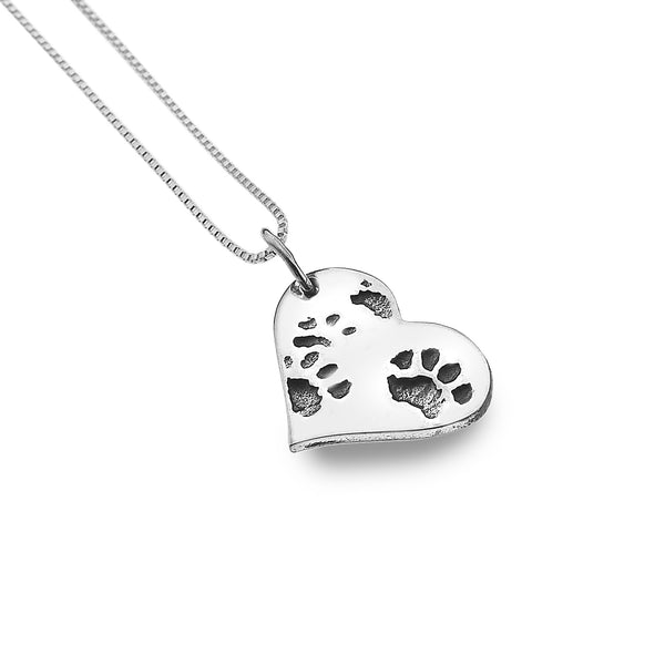 Silver Paw Print Heart Necklace