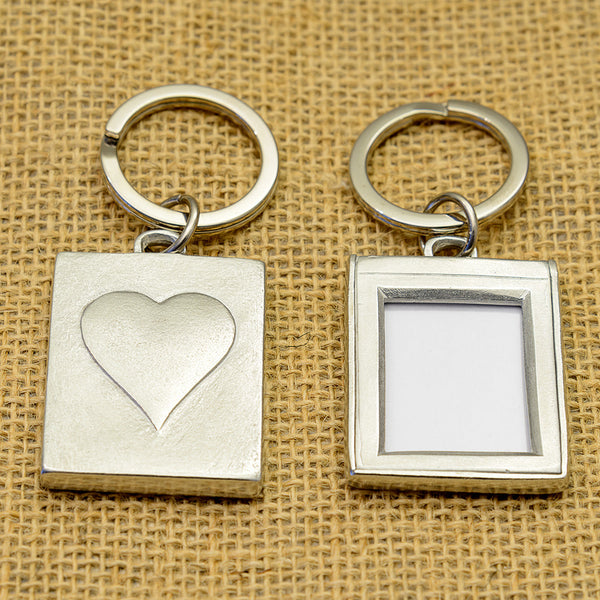 Pewter Photo Key Ring with a Large Heart