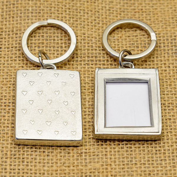 Pewter Photo Key Ring with Scattered Hearts