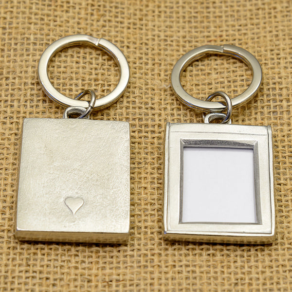 Pewter Photo Key Ring with a Small Heart