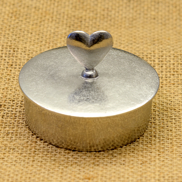 Pewter Trinket Box with Standing Heart Handle