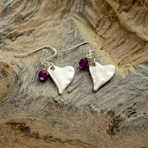 Purple Silver Heart Earrings