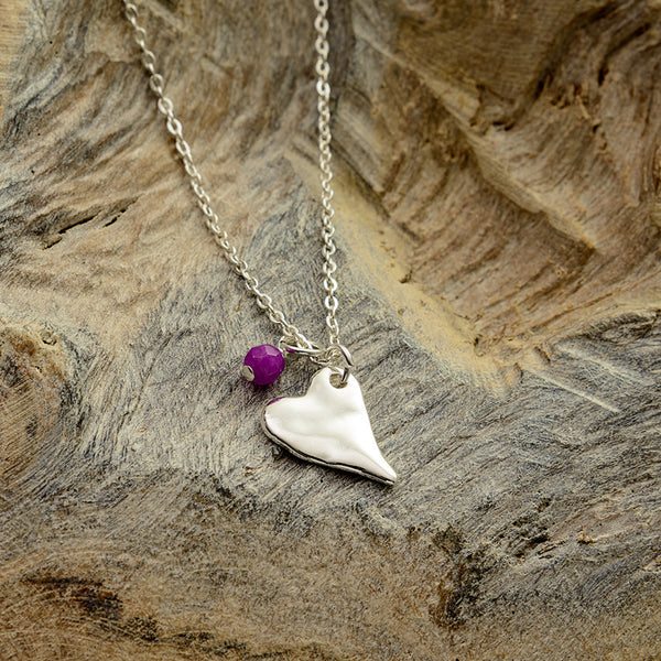 Purple Silver Heart Necklace