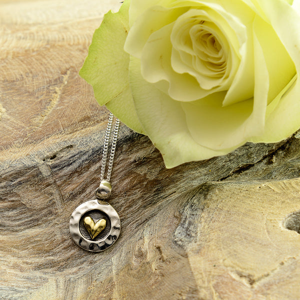 Round Oxidised Silver and Gold Brass Heart Necklace