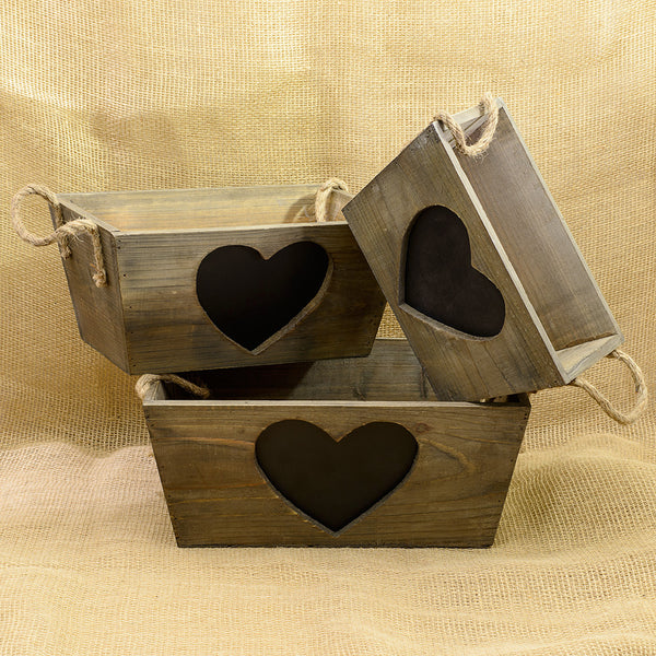 Set of 3 Trugs with Heart Shaped Blackboards