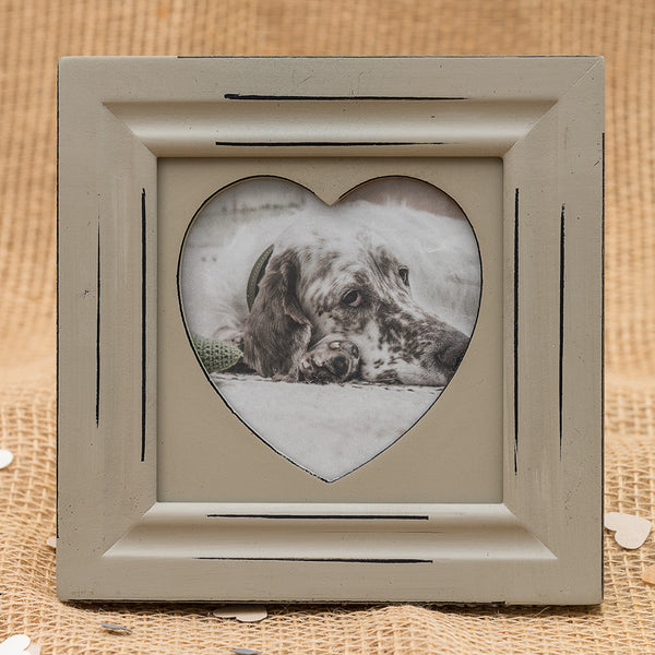 Shabby Chic Grey Wooden Heart Frame