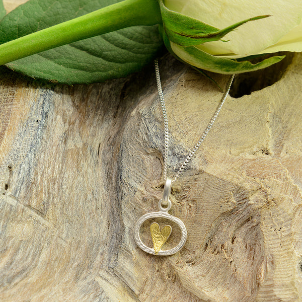 Silver Oval with Gold Heart Necklace
