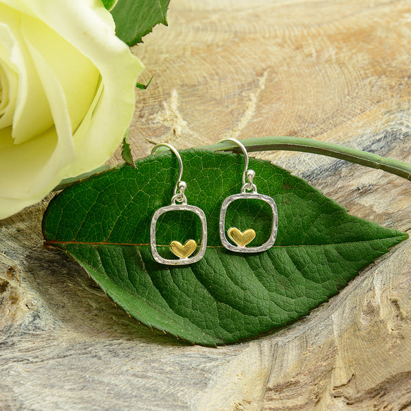Silver Square with Offset Gold Heart Earrings