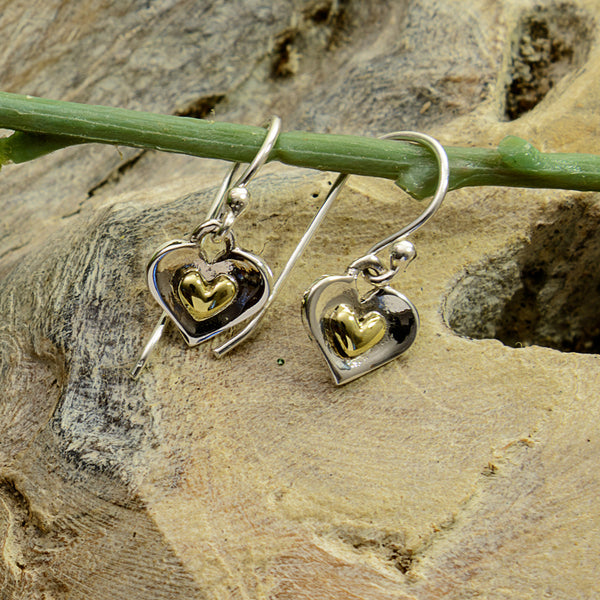 Silver and Gold  Brass Curved Heart Earrings
