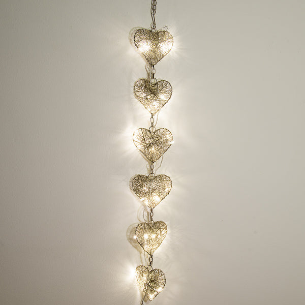 String of Heart Hanging Lights
