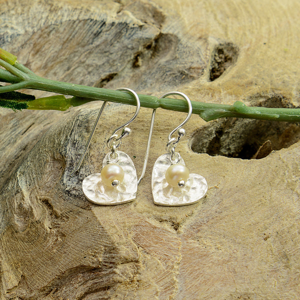 Textured Silver Heart with Pearl Earrings