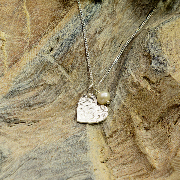 Textured Silver Heart With Pearl Necklace