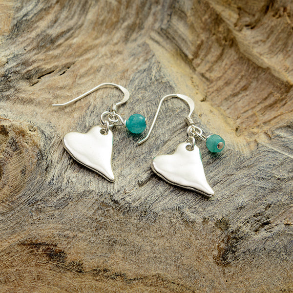 Turquoise with Silver Heart Earrings