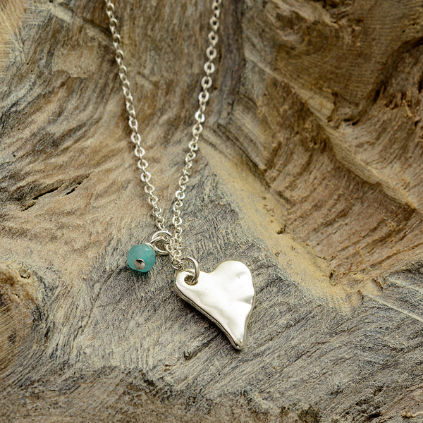 Turquoise Silver Heart Necklace