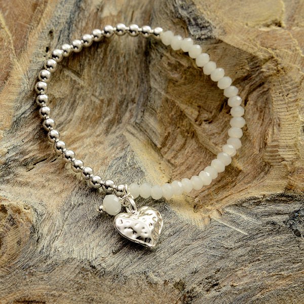 White Hammered Heart Two Tone Bracelet