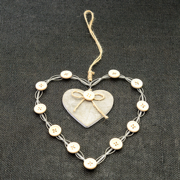 Wire and Button Hanging Heart