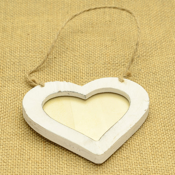 Wooden Ivory Hanging Heart Photo Frame