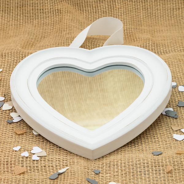 White Wooden Heart Shaped Mirror