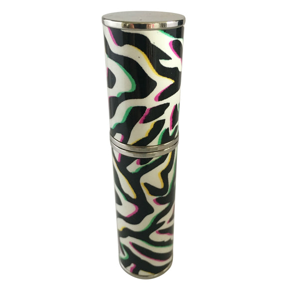 WHITE LEATHER PURSE ATOMIZER, WITH ZEBRA COLORED PATTERN