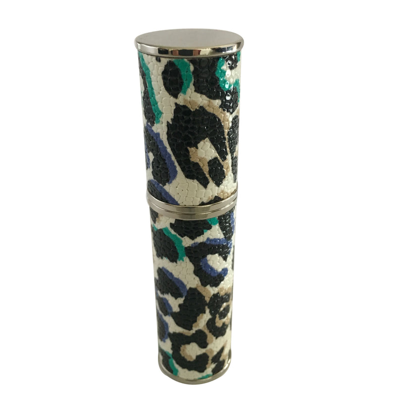 WHITE LEATHER PURSE ATOMIZER, WITH LEOPARD COLORED PATTERN